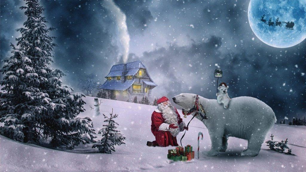 pere noel neige et ours